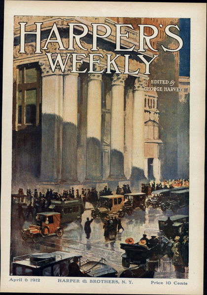 Automobiles early cars in city rainy night 1912 vintage Harper's color print