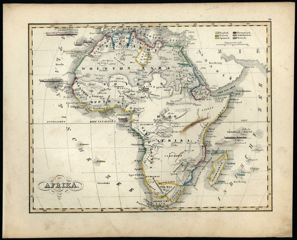 Africa continent Mts. of Moon Donga source Nile c.1840 Petri Baedeker scarce map