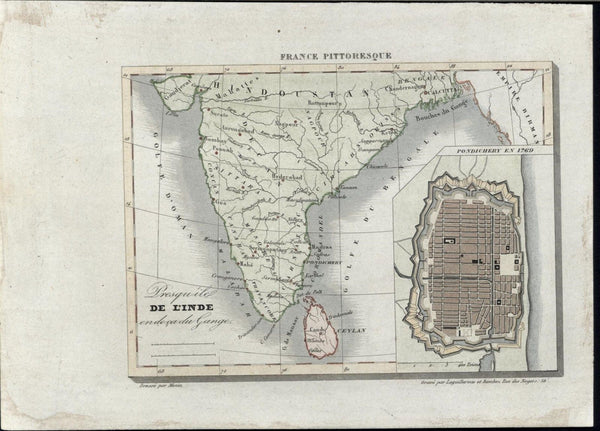 Southern India w/ Pondichery plan inset  1840 antique engraved hand color map