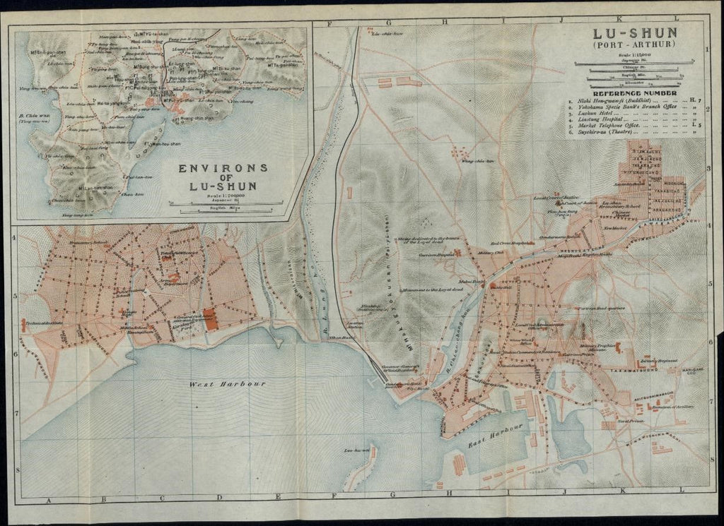 Port Arthur Lushunkou District Manchuria China 1913 scarce city plan map Japan