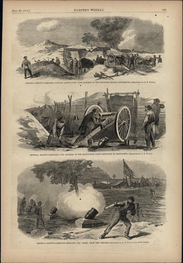 Grant's Campaign Captain Ashby's NY Battery 1864 antique Harpers Civil War print