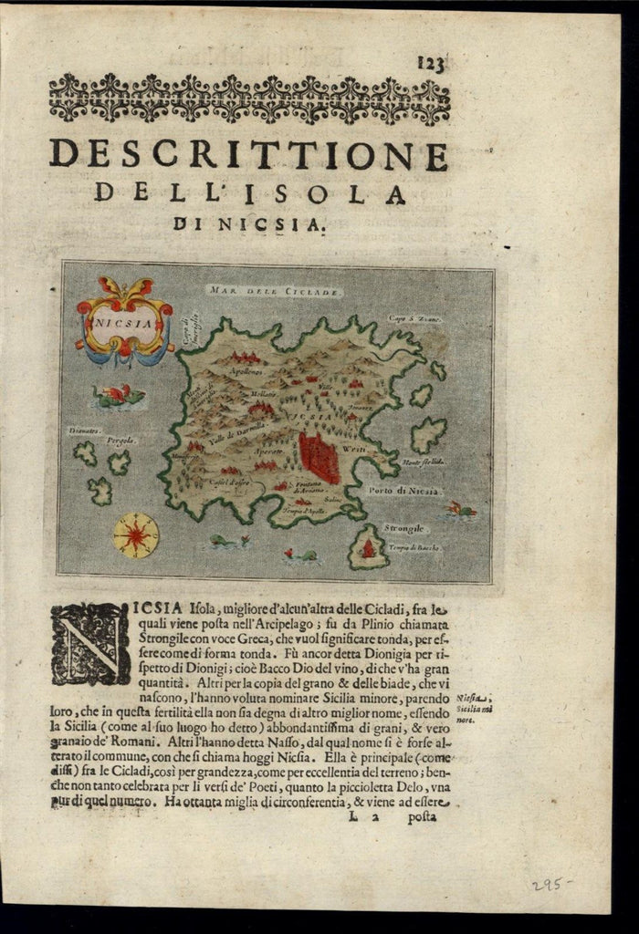 Greek Island Nicsia Archipelago Cyclades Sea 1620 Porcacchi fine antique map