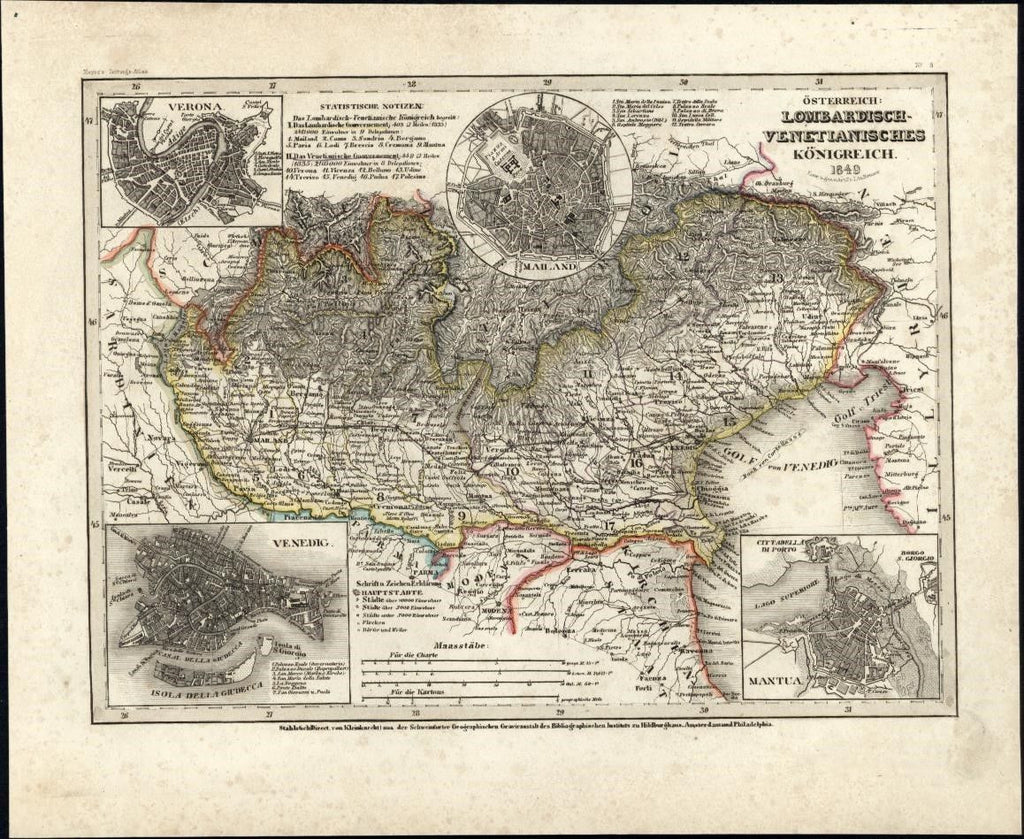 Lombardian Venice Italy Austrian Empire c.1850 Meyer scarce detailed antique map
