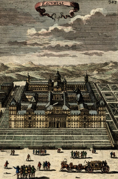 Escorial Spain Royal Kings palace 1683 Mallet antique engraved hand color print