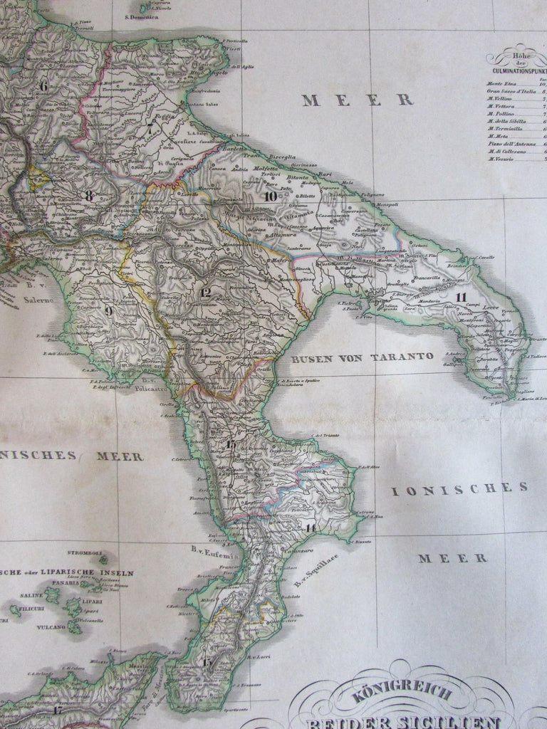 Southern Italy Sicily Malta Gozzo inset 1860 Orlandini Stieler scarce old map