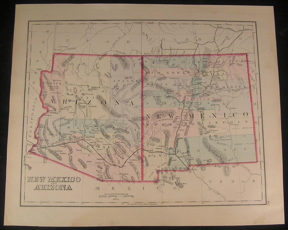 New Mexico & Arizona together 1879 antique lithograph hand color map