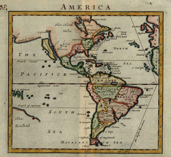 North & South America New England Brazil 1713 Moll miniature map hand color