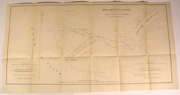 St. Clair River Delta Michigan South Channel 1842 U.S.G. old state survey map