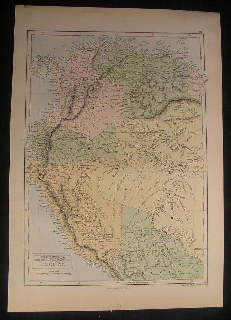 Venezuela Ecuador Peru Panama Columbia 1879 vintage antique old color map