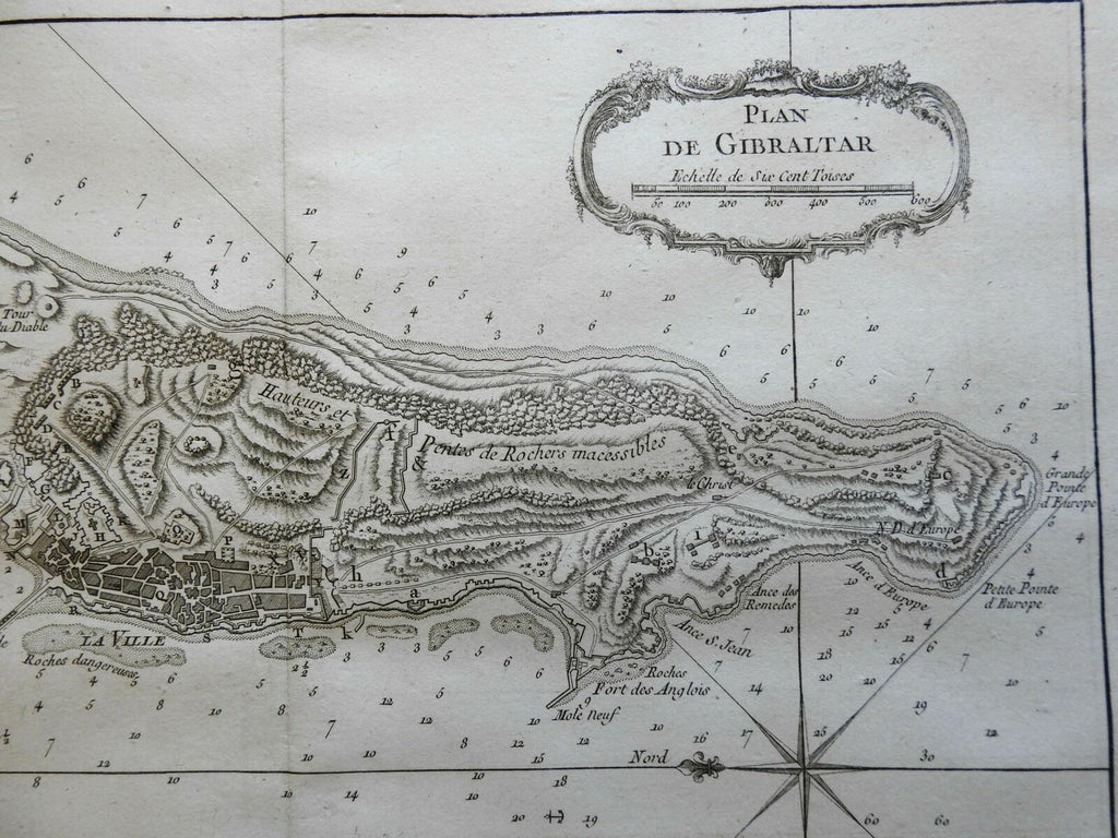 Rock of Gibraltar British Fortifications Iberia Mediterranean 1760 Bellin map