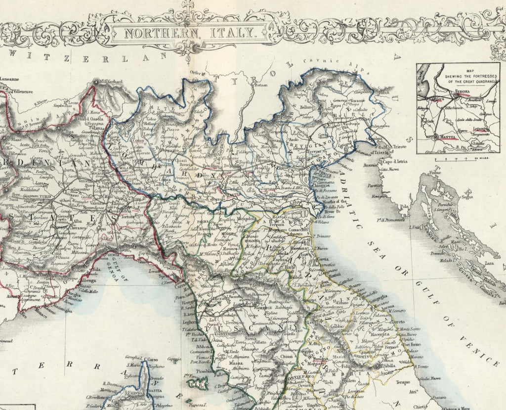 Northern Italy Italia Tallis c.1850 decorative old map – Brian ...