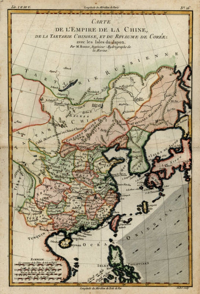 Chinese Empire China Japan Korea 1780 Bonne lovely engraved map hand color