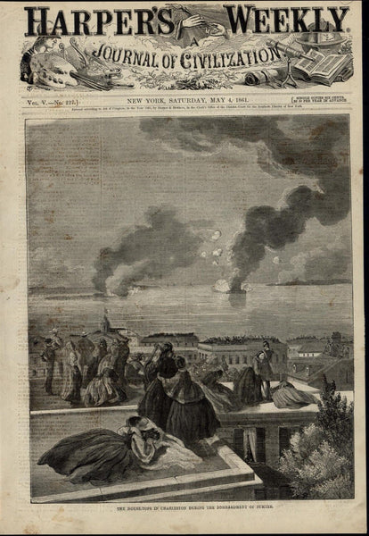 Rooftop Spectators Watching Sumter Bombardment 1861 great old print for display
