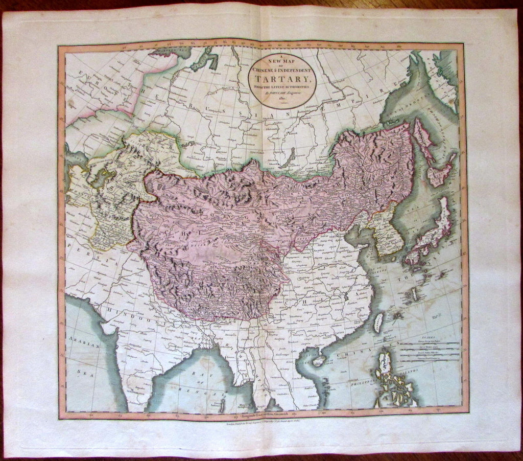 Chinese Tartary Tibet Bhutan Nepal China 1811 John Cary lovely large old map