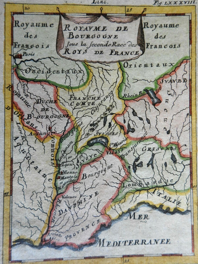 Kingdom of Burgundy Southern France Aquitaine Dauphine 1719 Mallet map