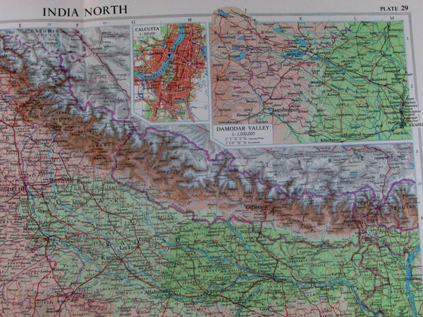 North India Punjab Kashmir Nepal Damodar Valley Calcutta Delhi 1959 vintage map