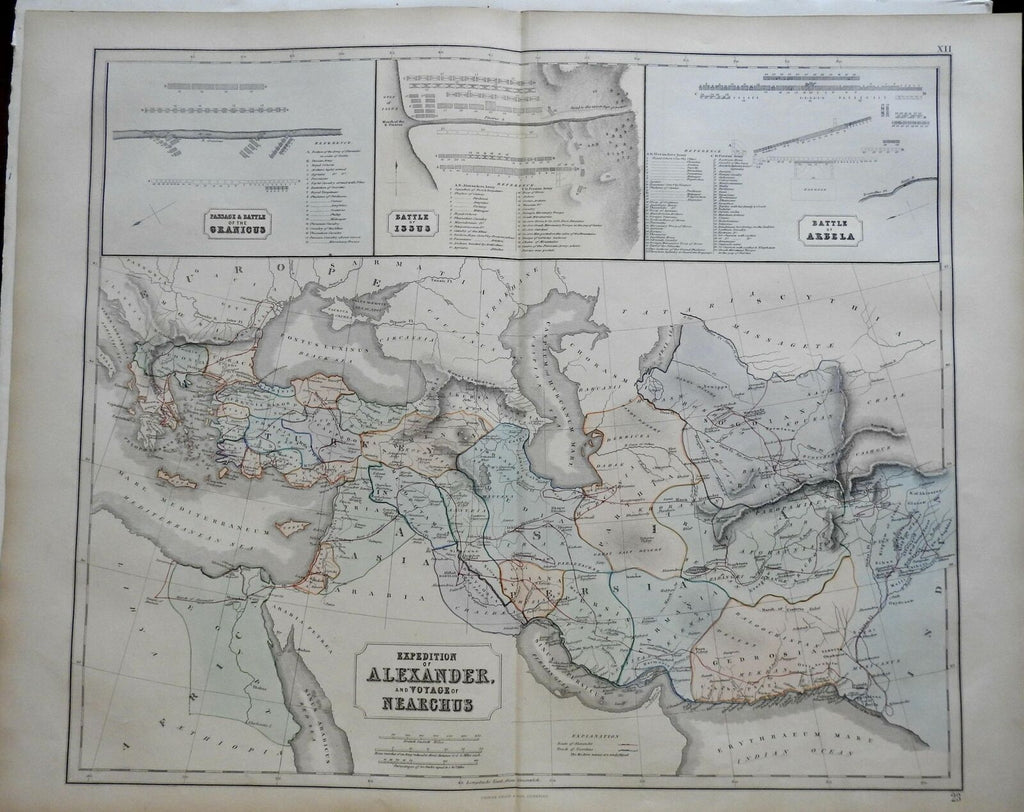 Empire of Alexander the Great Battle Plans Persia 1855 Philip Historical map