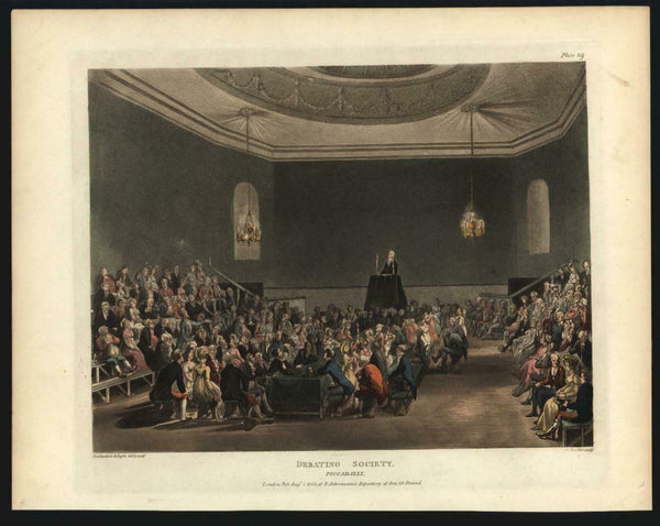 Debating Society gathering London debate 1808 Rowlandson fine aquatint print