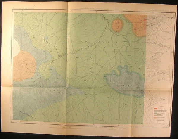 Montana Coal Region Judith River Basin Geology 1886 fine old vintage antique map