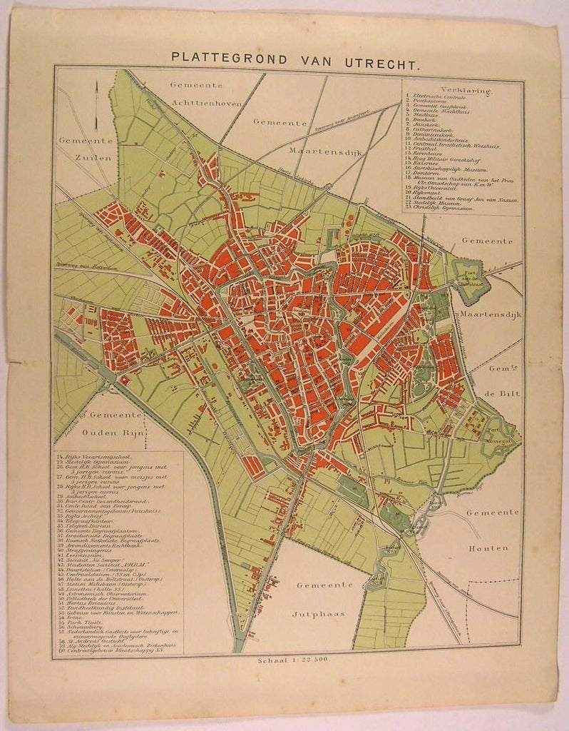 Utrecht City Plan Netherlands Holland 1890-1910 antique detailed map