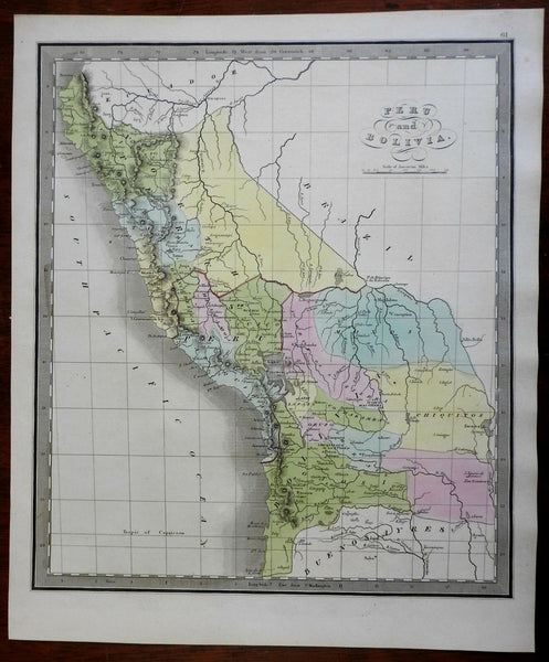 Peru & Bolivia Lima Cuzco Oruzo South America 1845 Greenleaf map