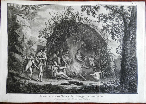 Terra del Fuego Native People Family Hut 1795 Captain Cook engraved print