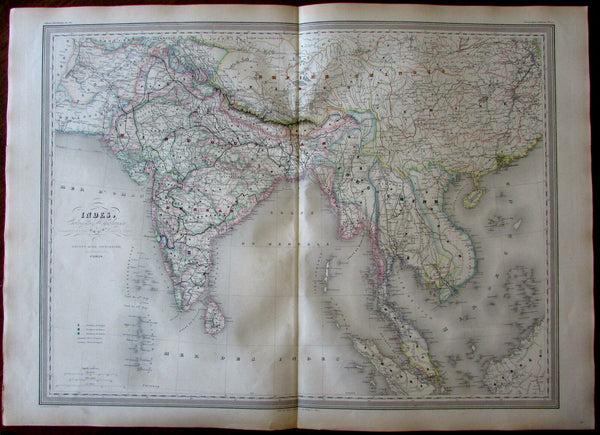 Southeast Asia India British Colonies Siam Malacca 1858 Dufour huge antique map