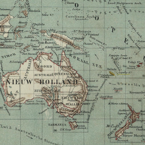 New Holland Australia Pacific Ocean Sandwich 1882 charming small Dutch old map