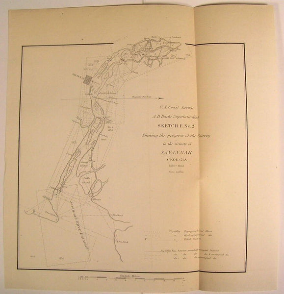 Savannah Georgia River Entrance Coast Islands 1852 U.S.C.S. old nautical map