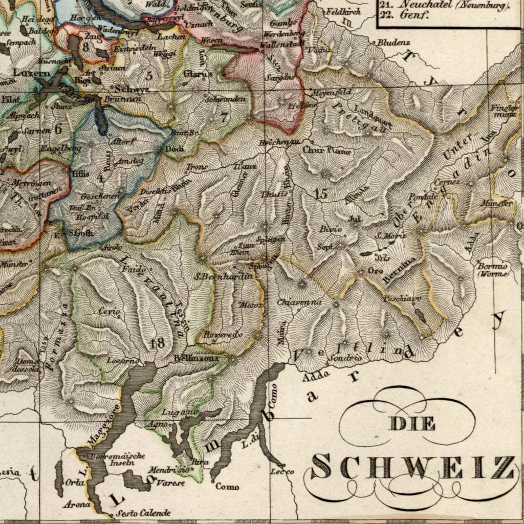 Switzerland Helvetia cantons die Schweiz old map 1834 Stieler scarce