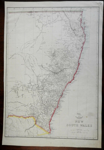 New South Wales Australia 1858 Weller Weekly Dispatch map Tooley #1318 detailed
