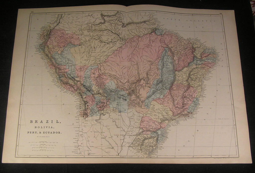 Brazil Bolivia Peru Ecuador South America 1875 fine large old hand color map