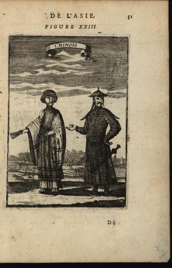 People of China Man & Woman Sword  Fans Headgear 1683 antique engraved print