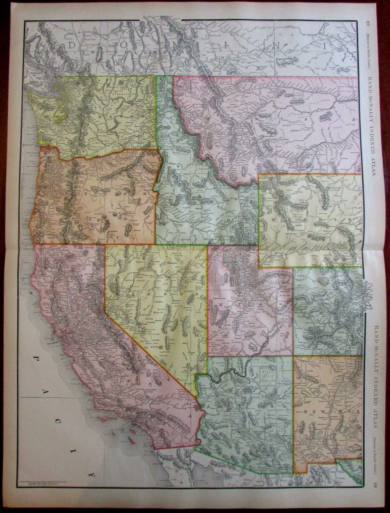 Denver to Pacific Coast 1908 huge detailed Rand McNally map