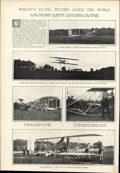 Orville Wright Bros Airplane Flying Record 1908 vintage newsprint sheet paper