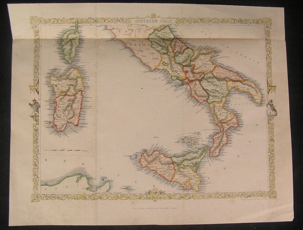 Southern Italy 1860 fine old vintage decorative antique Rapkin map