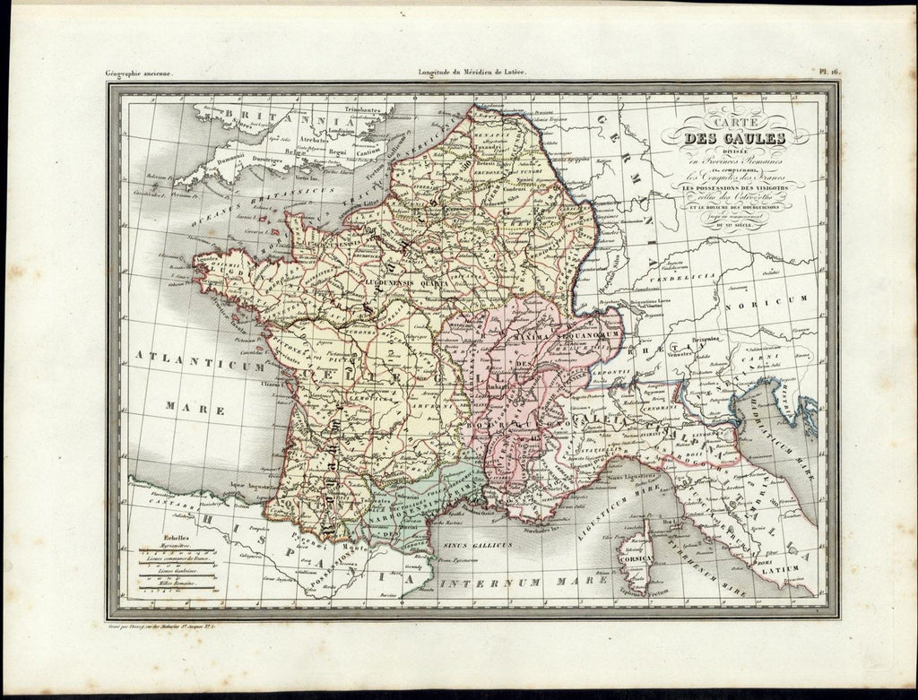 Provinces of Gaul France Germany Belgium nice 1846 uncommon antique color map