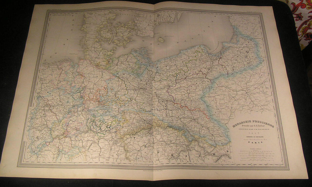 Kingdom of Prussia Brandenburg Silesia 1863 antique engraved hand color map