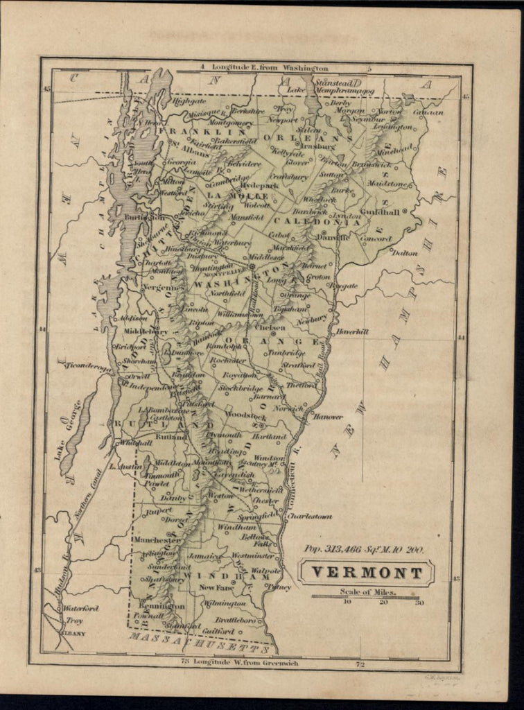 Vermont New England 1853 Boynton old antique engraved hand color map