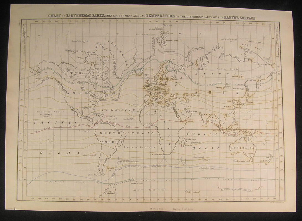 World Isothermal Lines Temperatures 1844 vintage antique old hand color map