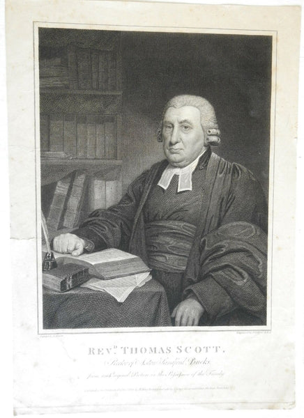 Reverend Thomas Scott English Clergyman 1820 engraved portrait by Collyer