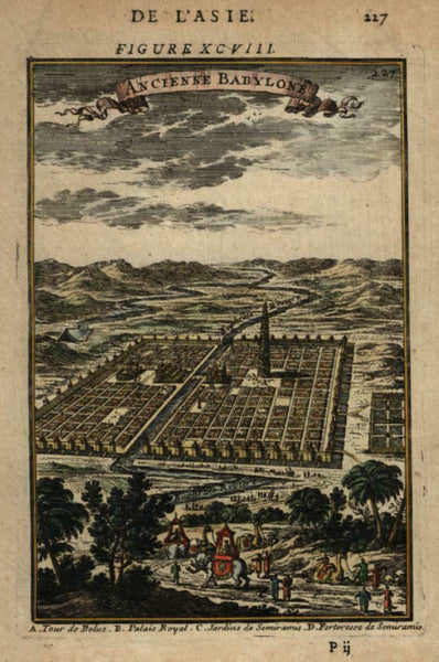 Ancient Babylon Iraq birds-eye view 1683 Mallet city prospect hand color