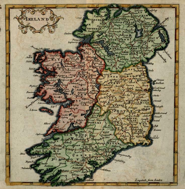 Ireland Eire Ulster Munster Leinster Connacht 1713 Moll miniature map hand color
