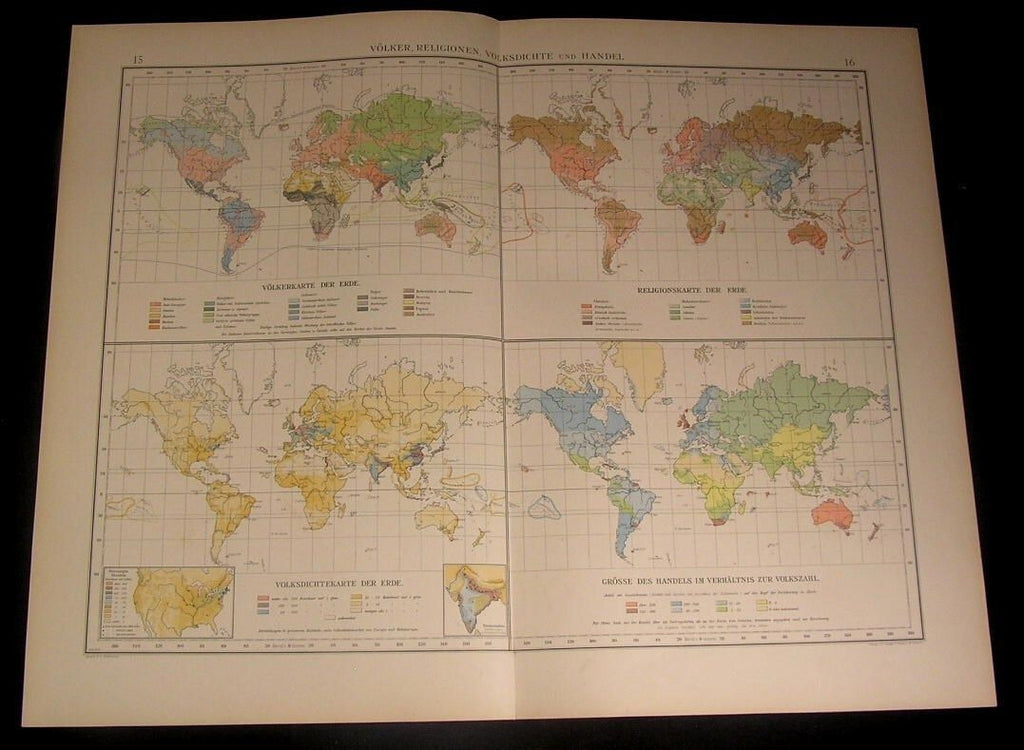 World Ethnography Languages Religions 1899 large detailed old German color map