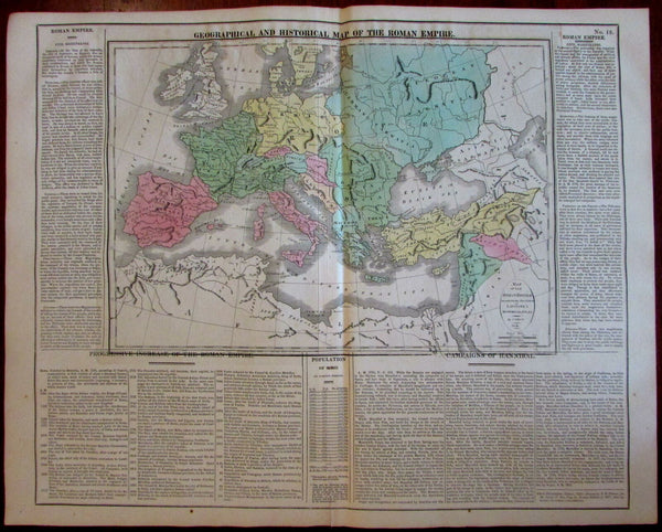 Roman Empire Geography History 1820-21 Carey large engraved historical map