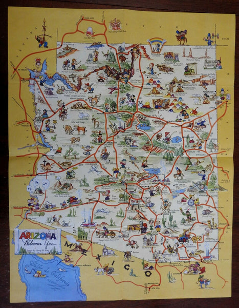 Arizona Welcomes You! 1940 Pictorial Cartoon George M Avey humor tourist map