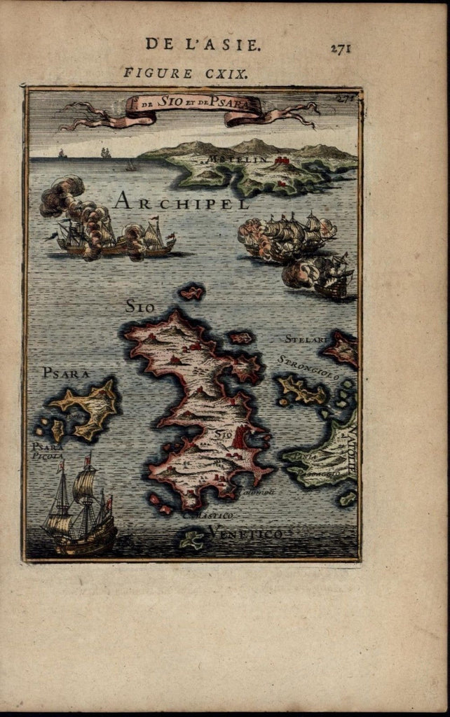 Greece Sio Psara Archipellago Ships 1683 charming miniature antique map view
