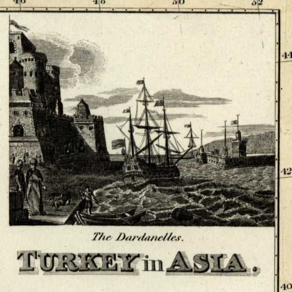 Turkey in Asia vignette Dardanelles Iraq Algezira 1821 Thomson Wyld Hewitt map