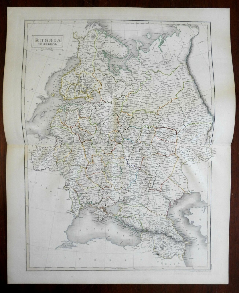 Russian Empire Poland Ukraine Crimea Astrakhan Caucasus 1841 Hall engraved map