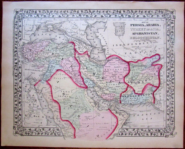 Persia Arabia Turkey in Asia Beloochistan Afghanistan 1874 S.A. Mitchell map